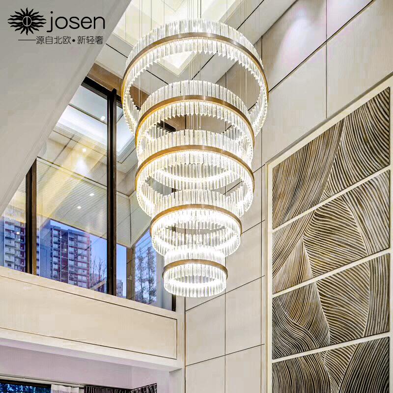 复式楼客厅水晶大吊灯轻奢别墅楼中楼梯圆形灯后现代简约大气灯具