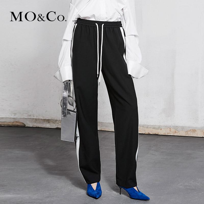 MOCO2018春季新品松紧腰撞色织带休闲裤MA181PAT108 摩安珂