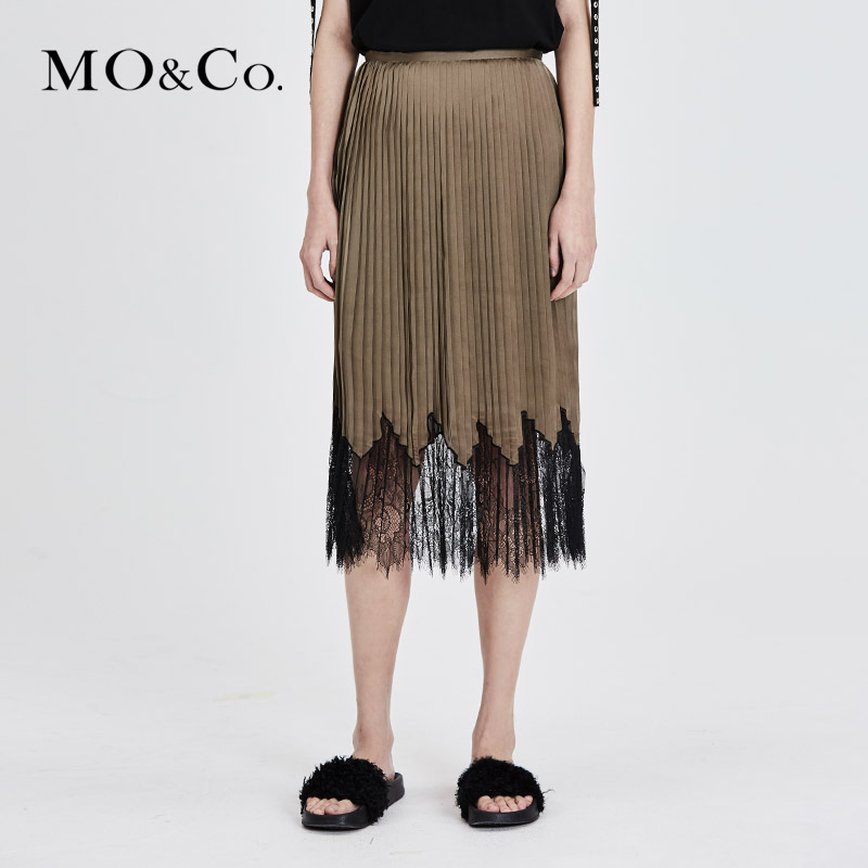 MOCO蕾丝拼接半身裙夏中长款半身裙直筒裙MA172SKT116摩安珂