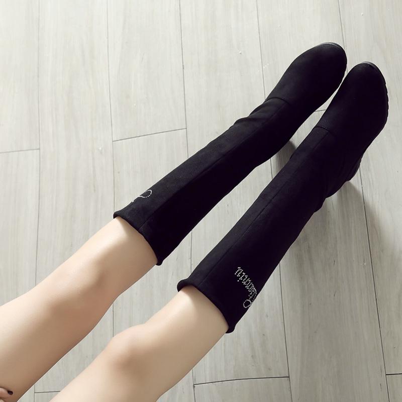 中筒靴女季2018春秋百搭瘦瘦坡跟新款内增高单靴子冬天鞋小sw短靴