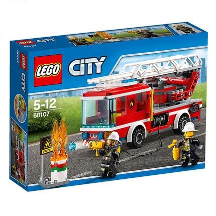 LEGO乐高益智拼插拼装积木男孩玩具CITY城市救援云梯消防车60107