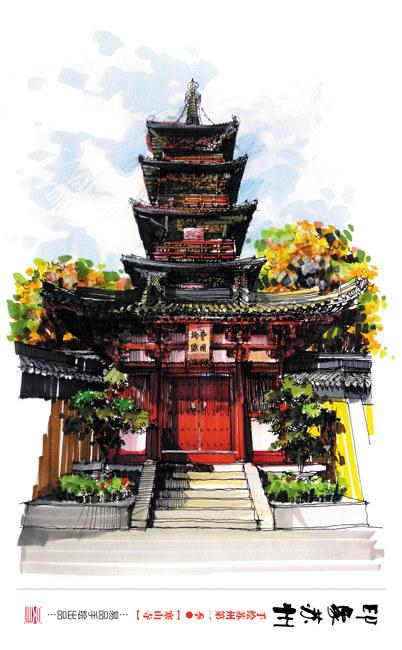 品唐 创意手绘 素描彩绘明信片 城市印象 南京 西安 上海 12张