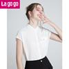 Lagogo2018夏季新款小清新翻领白色衬衫女无袖宽松短款雪纺衫上衣