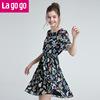 Lagogo2018夏季新款碎花圆领绑带荷叶边短袖连衣裙女风琴裙雪纺裙