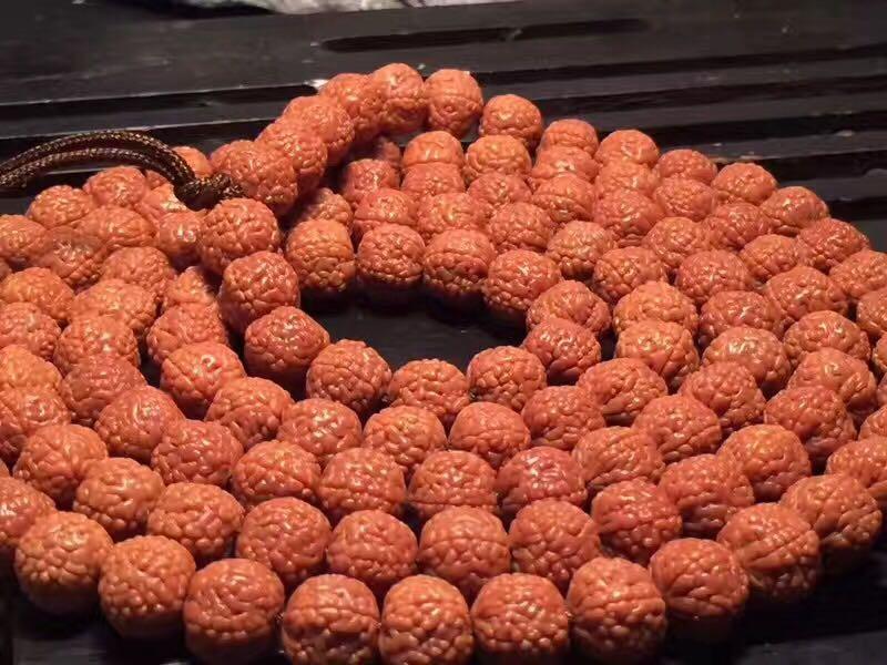 稀世珍藏品黄金皮矮桩爆肉龙鳞纹小金刚108颗珠佛珠链盘龙纹手串