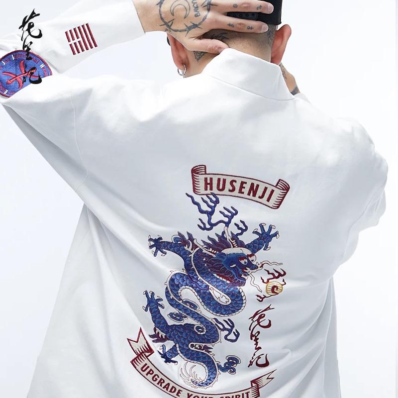 花笙记中国风潮牌杨文昊同款龙刺绣白色牛仔唐装盘扣情侣外套男装