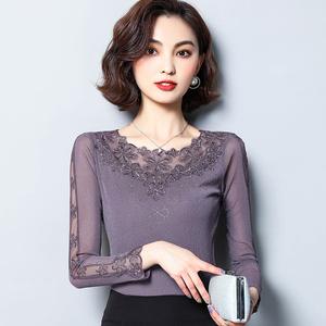 低领蕾丝打底衫女长袖秋冬装2019年新款亮丝网纱加绒上衣小衫t恤