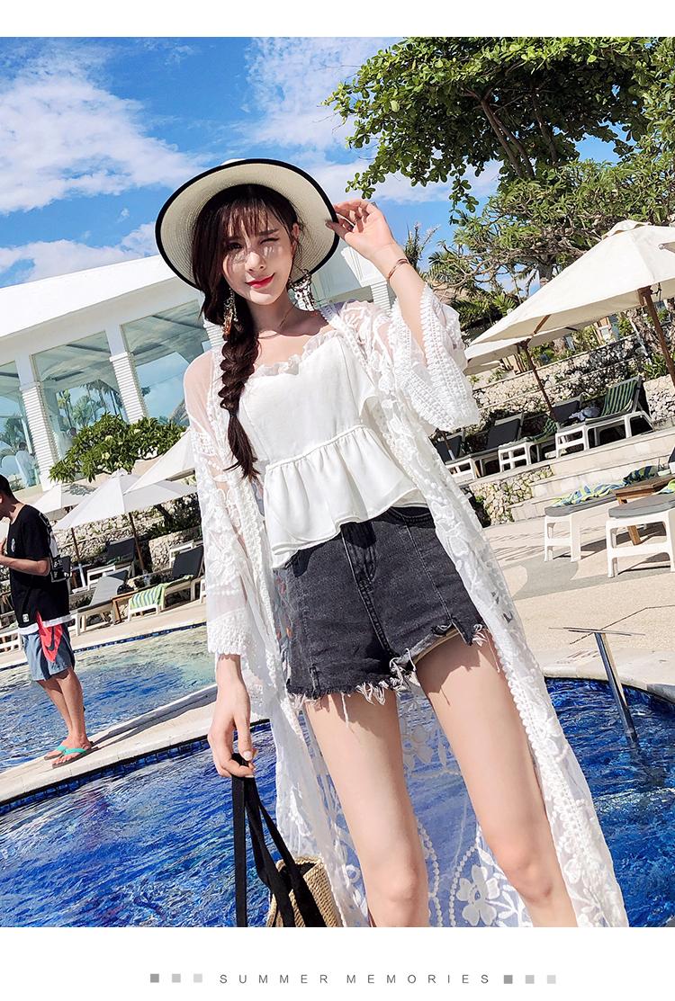 沙滩长衫外搭防晒衫女长款披风蕾丝外套透明纱衣泳衣罩衫8034