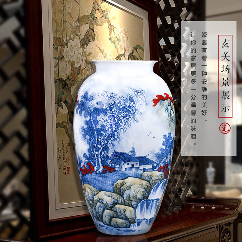 Jingdezhen ceramics hand - made of blue and white porcelain vases, flower arrangement place large new Chinese style office sitting room adornment