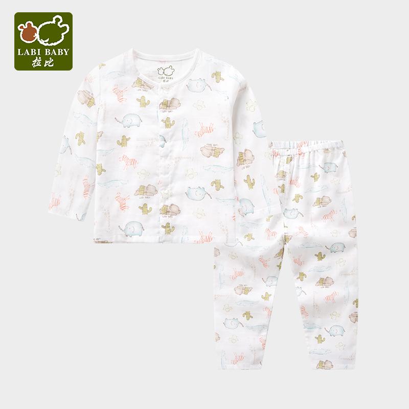 拉比儿童内衣套装纱布睡衣宝宝夏装短袖婴儿衣服 男童女童童装