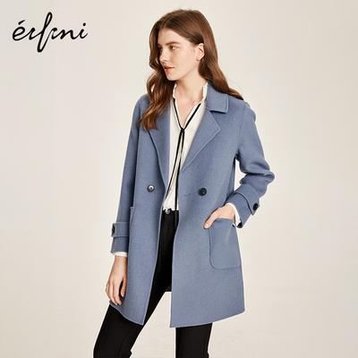 伊芙丽2018秋新款韩版宽松长袖毛呢外套气质100%羊毛双面呢大衣女