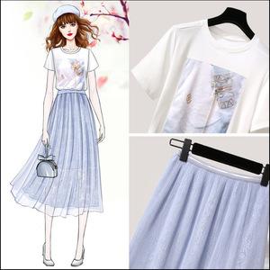 很仙的法式赫本潮套装春夏俏皮仙女复古裙御姐短袖网纱裙子两件套