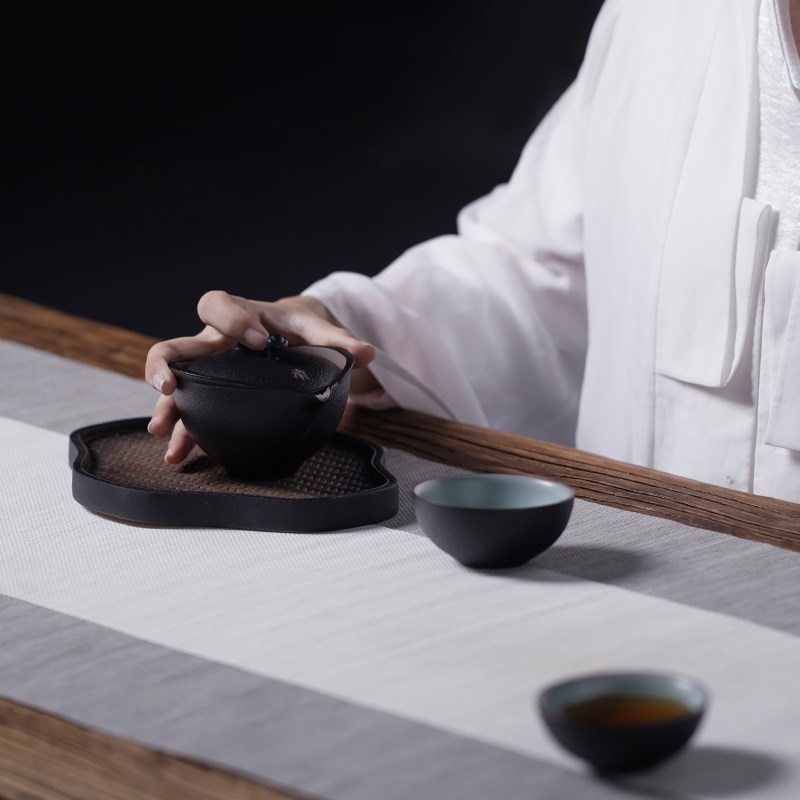 万仟堂陶瓷快客杯陶制一壶二杯易泡壶送礼功夫茶具带布包 清心