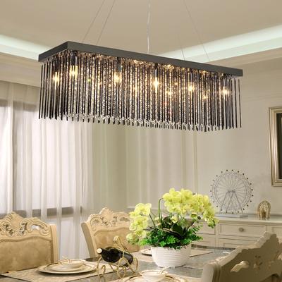雷可诗顿 水晶灯长方形餐厅吊灯三头 餐桌灯led 吊灯现代简约灯具