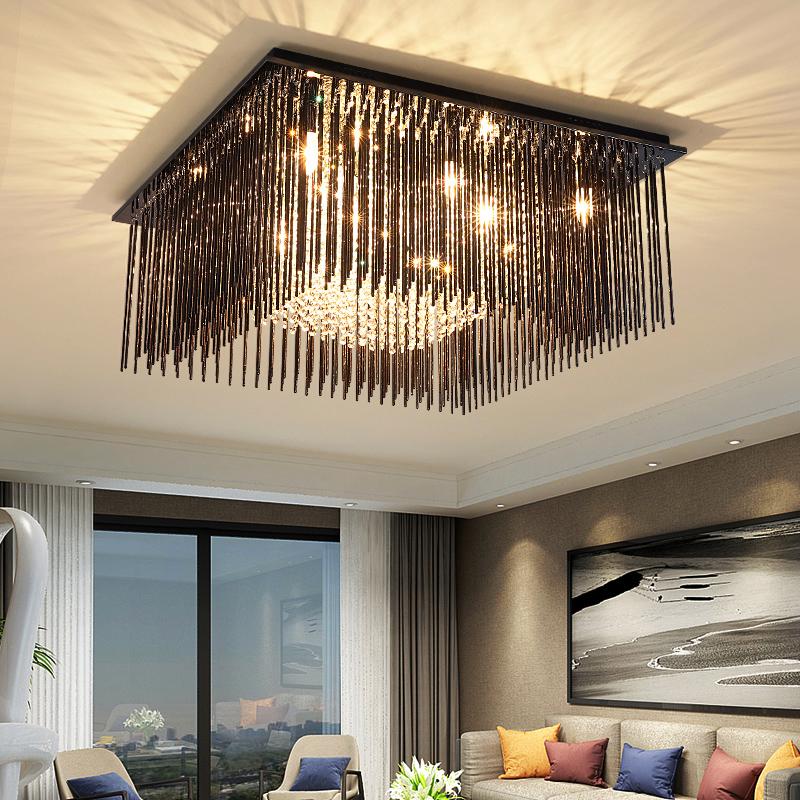 客厅灯轻奢长方形水晶灯现代简约水晶吸顶灯大气餐厅卧室灯具