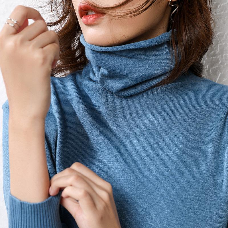 【第二件0元秋冬季新款女式韩版修身堆堆领慵懒套头打底针织衫