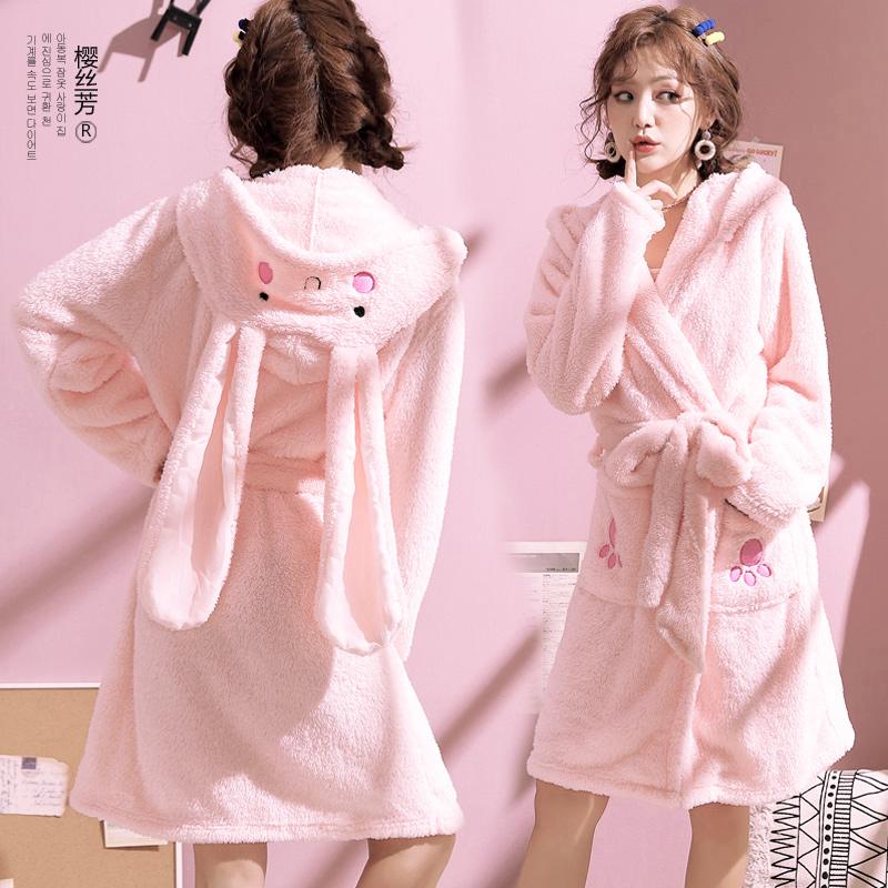 珊瑚绒睡衣女冬季睡袍法兰绒加厚保暖连帽可爱卡通浴袍睡裙家居服