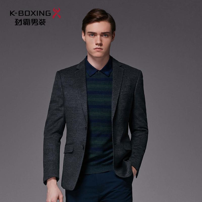 劲霸男士新品秋季羊毛外套时尚帅气毛呢单西服|BYFL3503