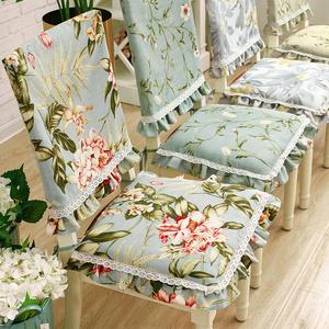 花边椅垫椅套餐椅子垫棉麻坐垫可拆洗餐桌套装美式布艺四季可用
