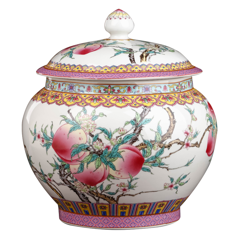 Jingdezhen ceramic colored enamel caddy fixings with cover seal pot large domestic large capacity puer tea cake storage tanks