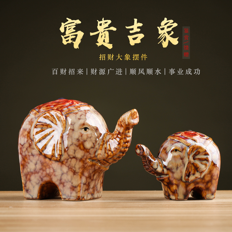 Lucky like feng shui town house and ceramic elephant a place to live in wine cabinet TV ark, porch handicraft ornament