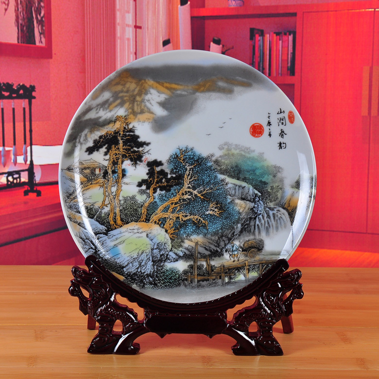 Exhibition of jingdezhen ceramics landscape disc hanging dish furnishing articles ceramic decoration home decoration plate