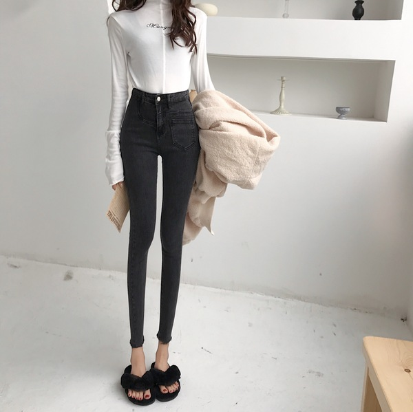 (Real Shot) Korea Slim Thin High Waist Jeans Chic Fashion Stretch Feet Pencil Pants