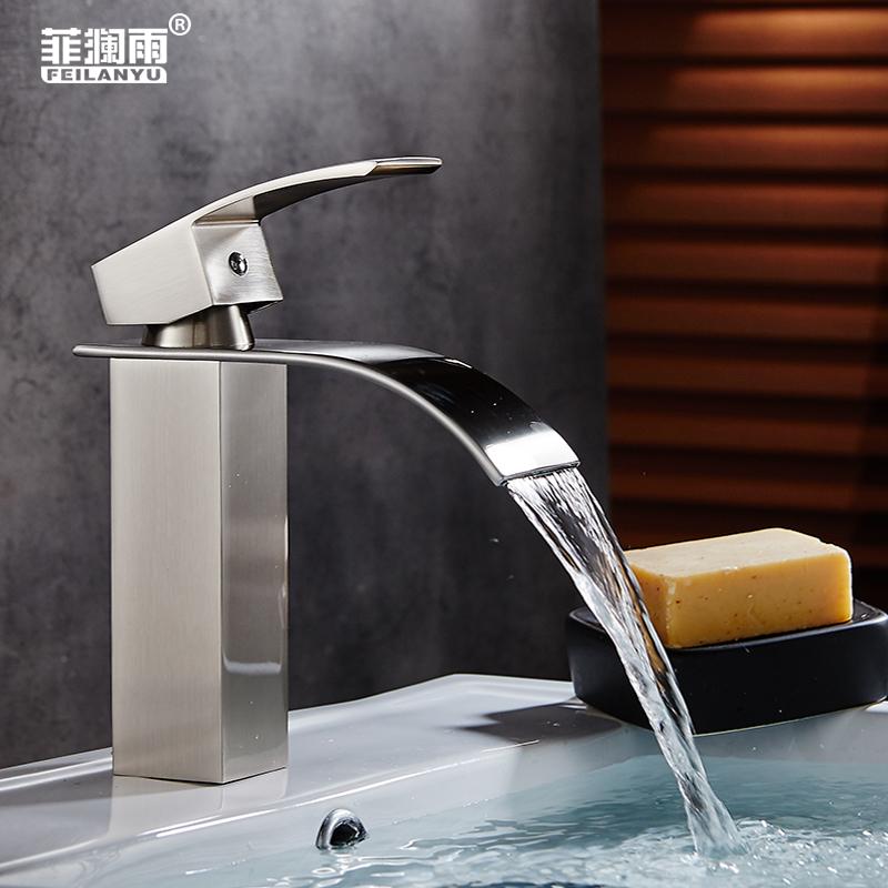 菲澜雨全铜面盆冷热水龙头瀑布式龙头洗脸洗手盆加高台下上盆龙头
