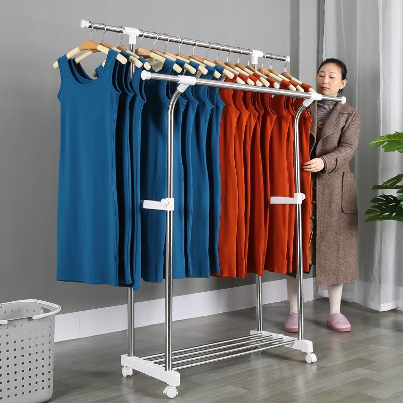 双杆式不锈钢晾衣架落地高低杠伸缩晒衣架衣帽架室内阳台挂衣服架