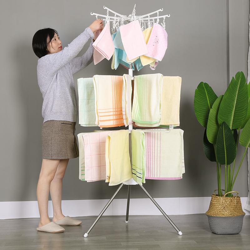 婴儿晾衣架落地折叠不锈钢摆地摊衣架晒衣新生儿童衣架宝宝尿布架