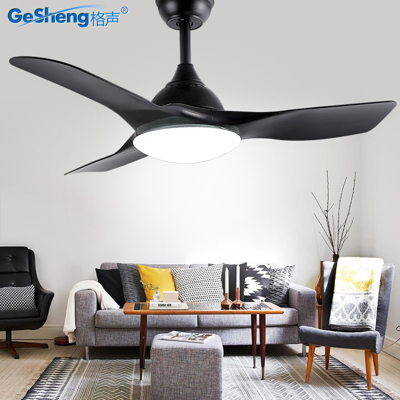 北欧现代简约风扇灯吊扇灯餐厅客厅 黑白美式家用卧室大电风扇灯