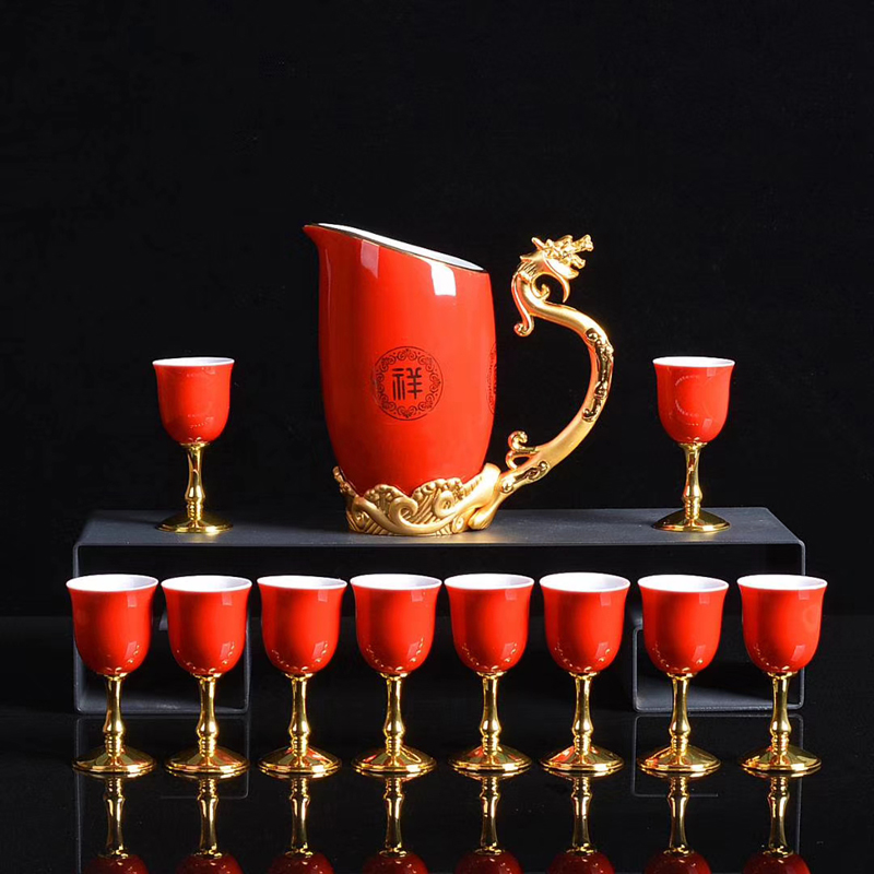 Jingdezhen Chinese zodiac furnishing articles wine goblet jade festive red yellow ceramic cup