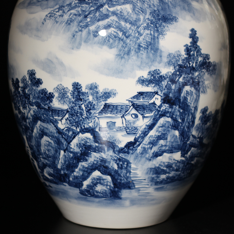 Mesa of jingdezhen blue and white vase decoration vase painting and calligraphy for the vase landscape vase furnishing articles jiangnan mountain water bottles