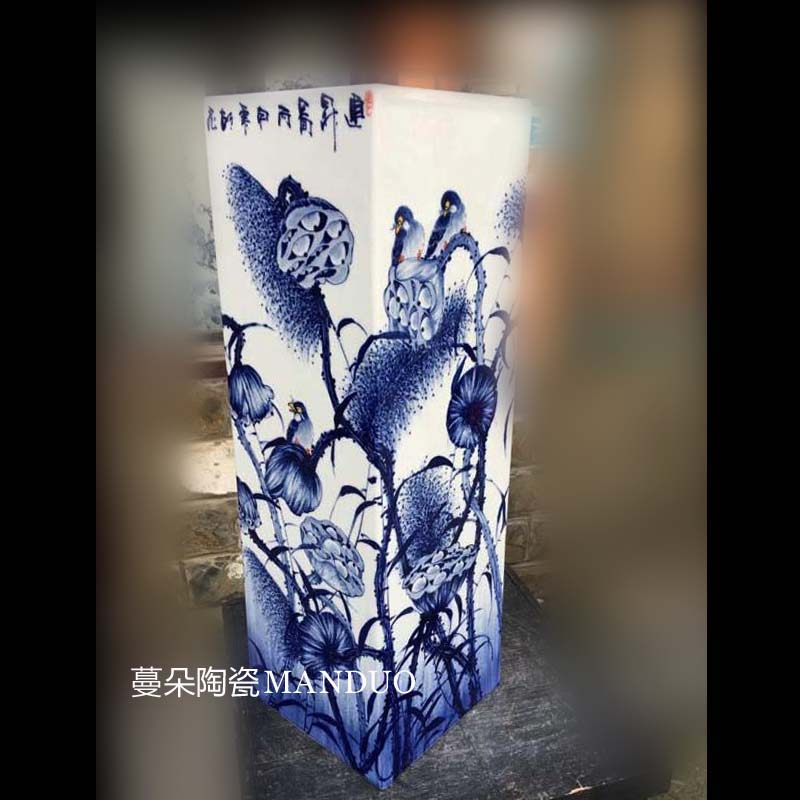 Jingdezhen blue and white lotus pure hand - made porcelain square vase zen furnishing articles abnormity square porcelain vase
