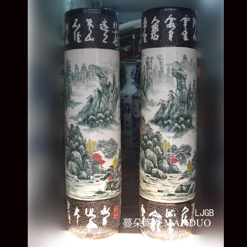 Engraved words hand - made scenery quiver straight landing big big vase vase hall jingdezhen enterprise culture
