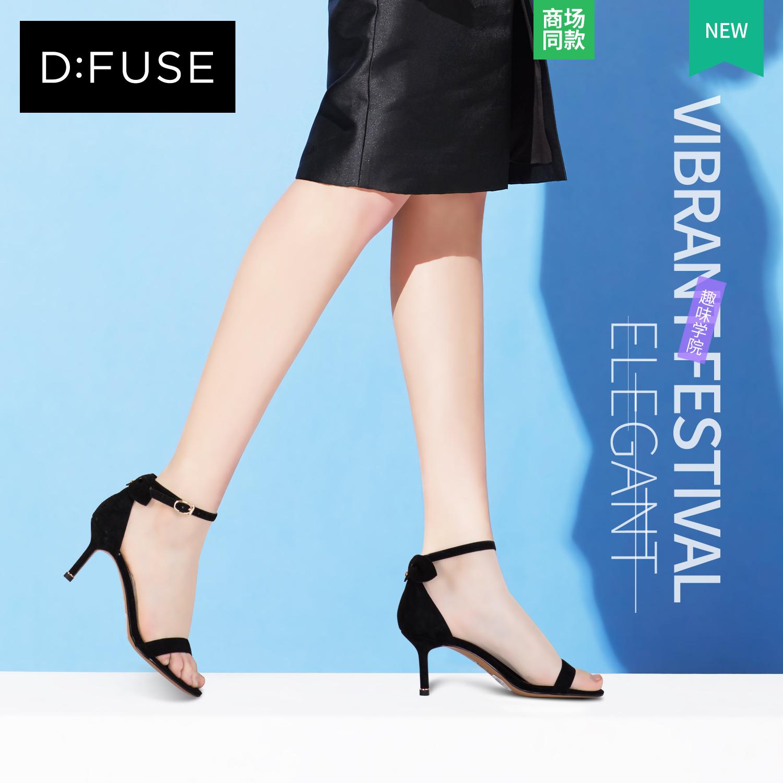 D:Fuse-迪芙斯夏新款2018细跟高跟鞋一字带凉鞋女女鞋DF82115346