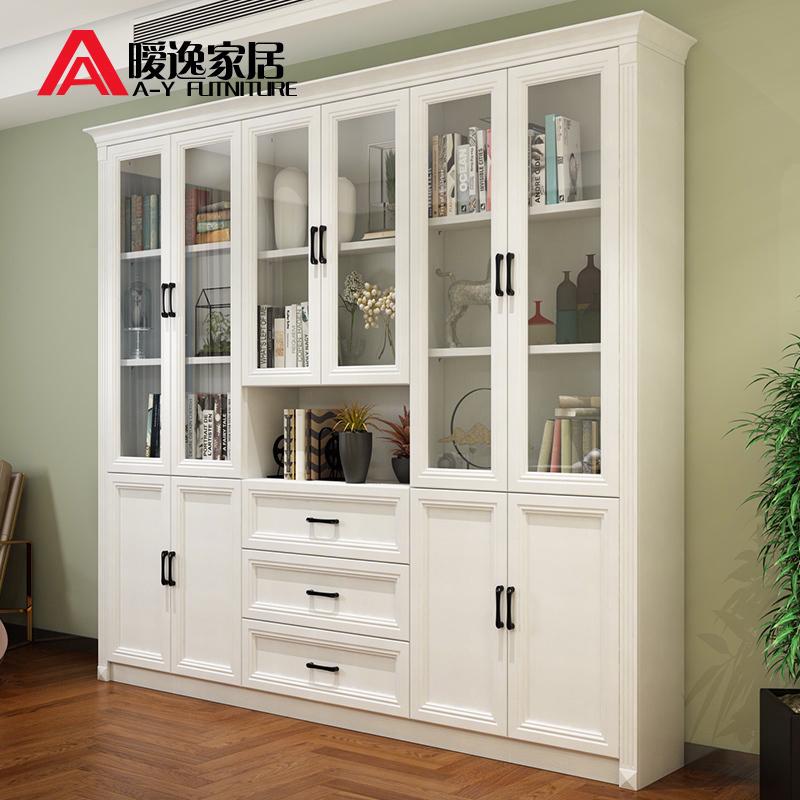 暧逸简约大容量玻璃门书柜书橱多功能展示柜带抽屉储物柜定制S17