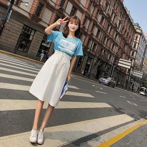 2018新款夏季韩版宽松收腰显瘦假两件套连衣裙女F5098