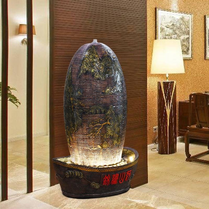 大型流水喷泉摆件客厅鱼缸室内水景装饰品玄关风水轮招财室内转运