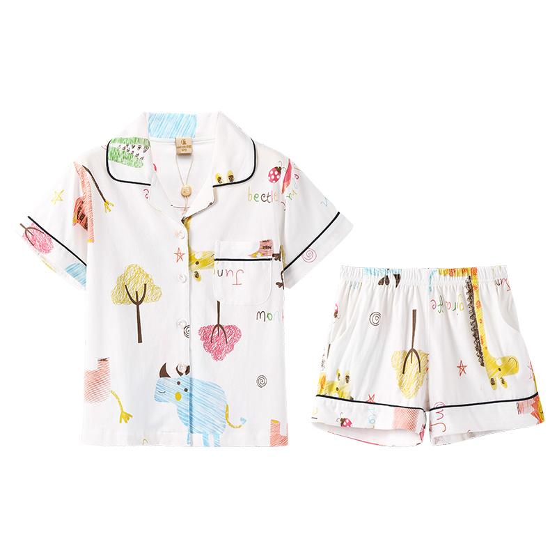 芬腾夏季新款女童睡衣纯棉短袖开衫可爱全棉儿童中大童家居服套装