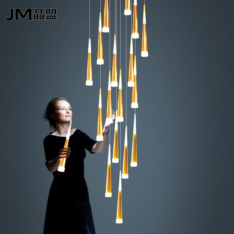 现代简约复式旋转楼梯吊灯个性led北欧创意餐厅别墅楼梯间长吊灯