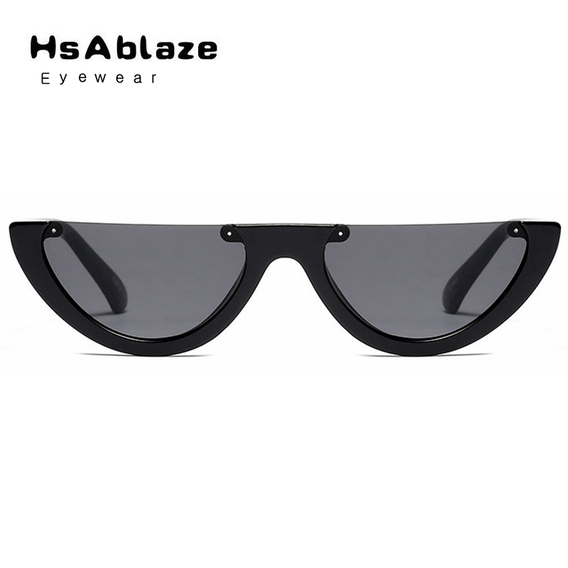 HsAblaze2017 star network red section personality cool men and women half box cat eye sunglasses retro small frame sunglasses