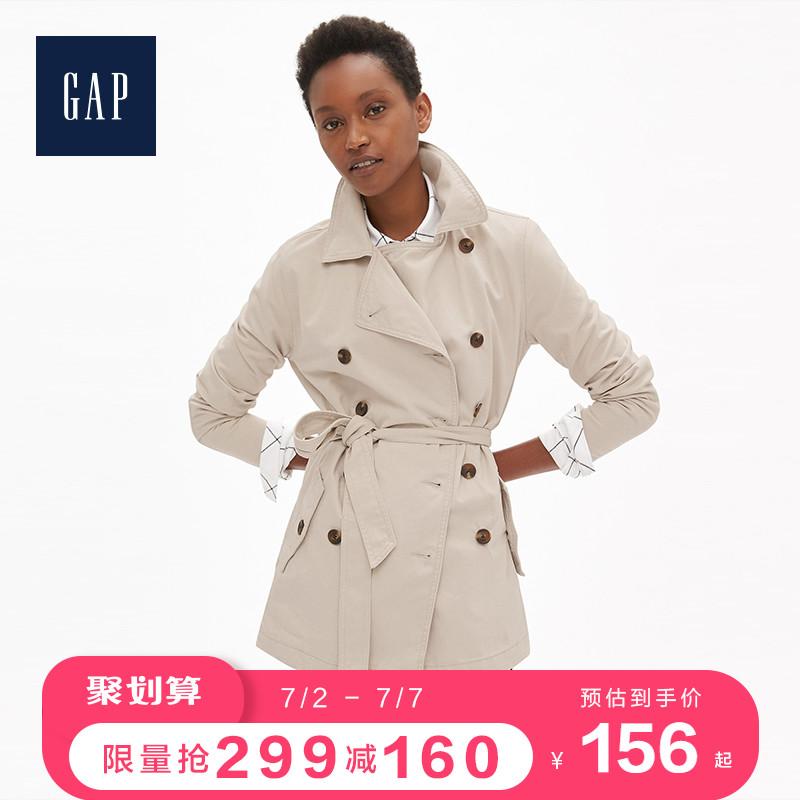 Gap女装时尚通勤外套232182 女士双排扣中长款系带风衣