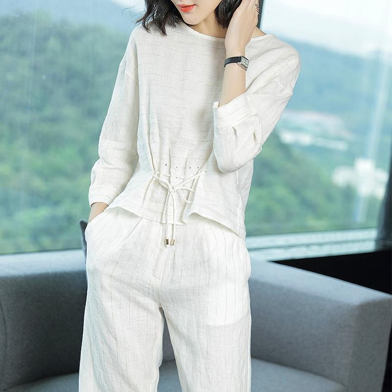 妃之影2018夏季新款休闲条纹刺绣两件套修身裤时尚气质亚麻套装女
