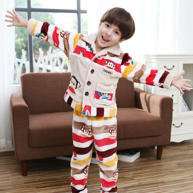儿童睡衣珊瑚绒男童 中大童法兰绒家居服冬季加厚套装3-5-7-9周岁