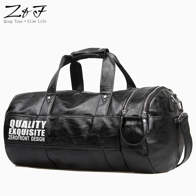 男士手提包健身包背包男圆桶包休闲运动训练包单肩斜挎旅行包皮潮