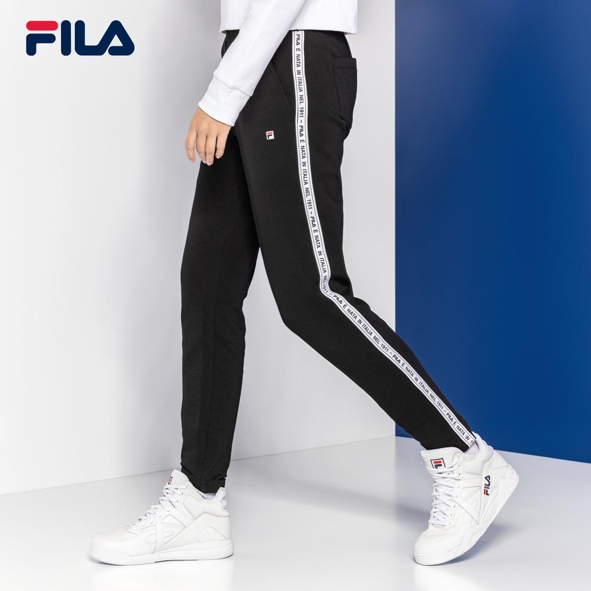 FILA斐乐女长裤2018冬季新品运动休闲侧边串标针织直口长裤女
