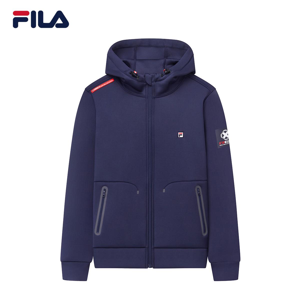 FILA斐乐男外套2018秋季新款运动上衣简约时尚长袖连帽运动外套男