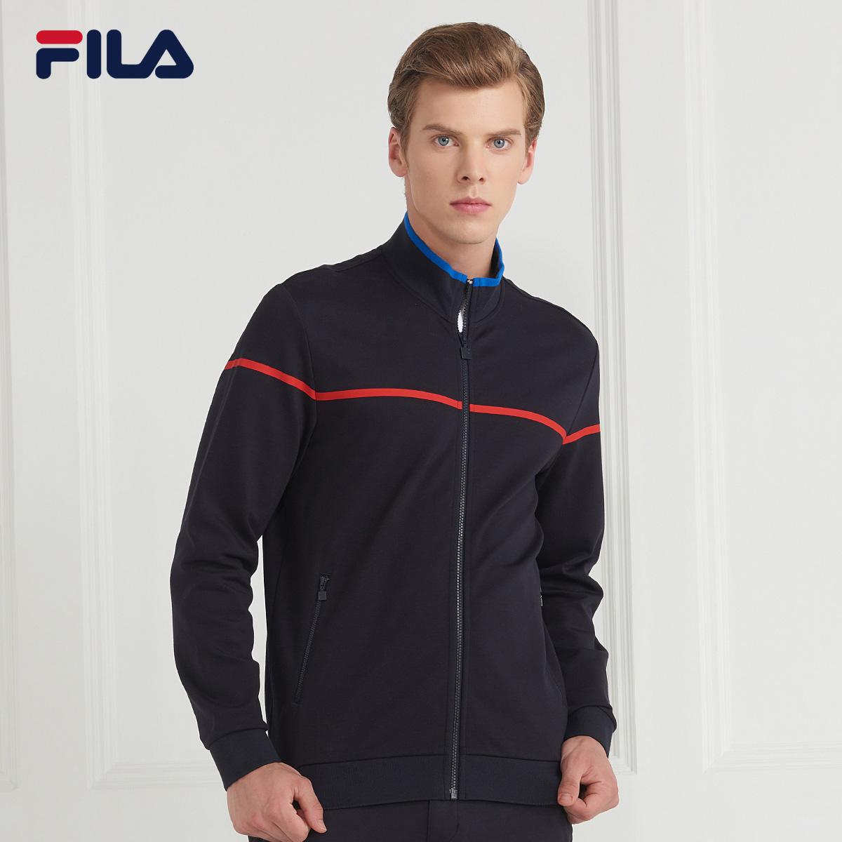 FILA斐乐男外套2018秋季新品针织时尚休闲运动外套立领长袖外套男