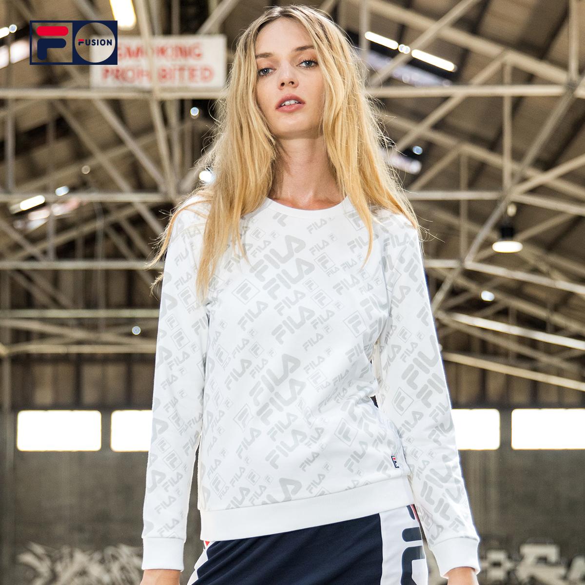 FILA FUSION女卫衣斐乐2018春季LOGO满版印花针织套头衫卫衣女